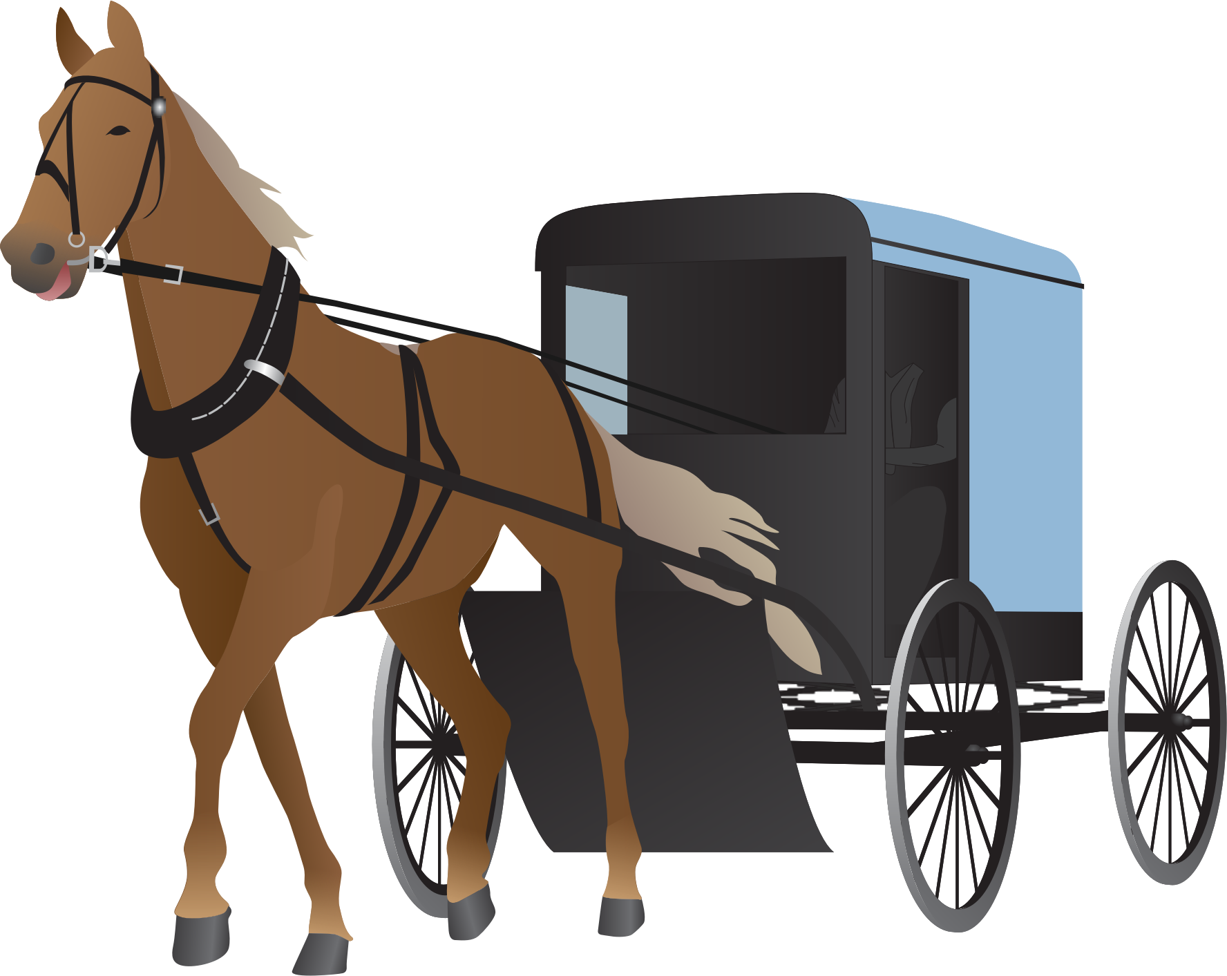 freeuse library horse and carriage clipart #64867480