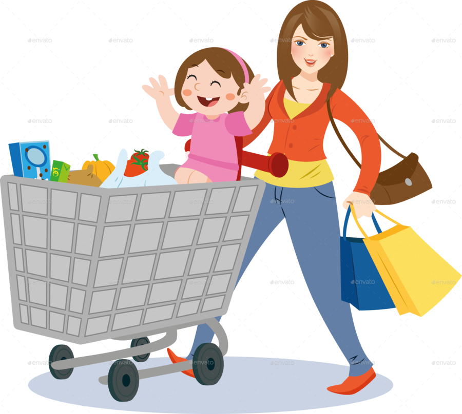 picture freeuse stock Mother cartoon shopping . Cart clipart child.