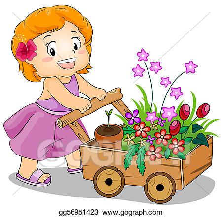 picture free library Stock illustration flower drawing. Cart clipart child.