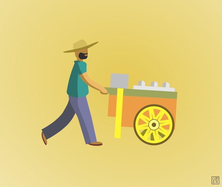 graphic library library Ice cream vendor vector. Cart clipart sorbetero.