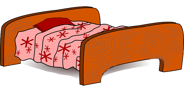 clip art royalty free stock Cartoon clipart bedroom. Pink bed .