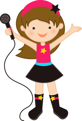 vector transparent library Brown haired girl oficis. Cartoon clipart singer.