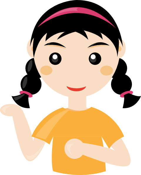 vector black and white library Girl Cartoon Clip Art at Clker