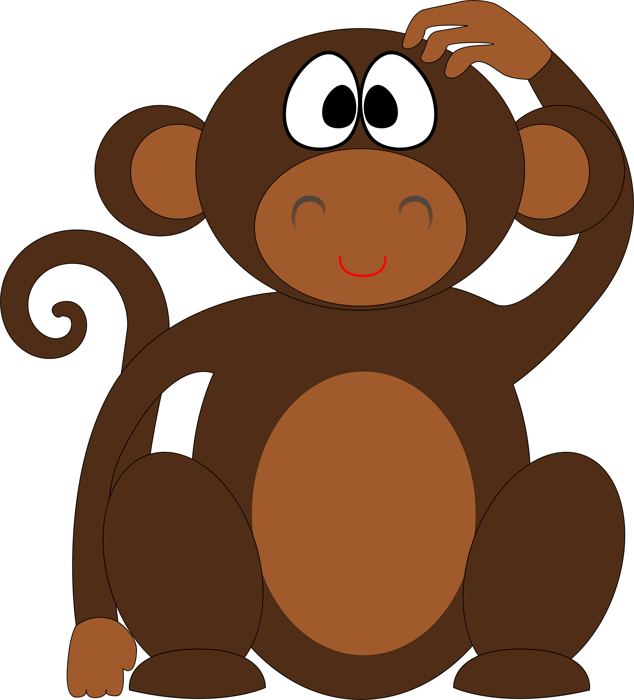 jpg black and white download Cartoon monkey big image. Ape clipart easy
