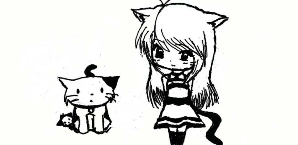 svg black and white Beet drawing cute. Anime cat girl by