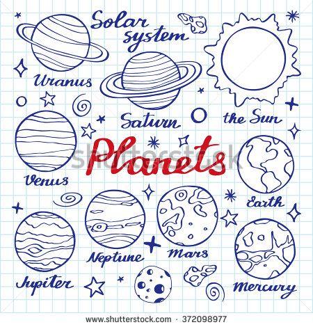 clipart stock Planets set hand drawn. Uranus drawing sketch.