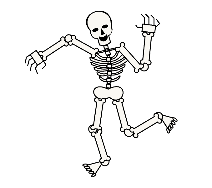 picture library stock Human skeleton drawing skull. Bones transparent cartoon