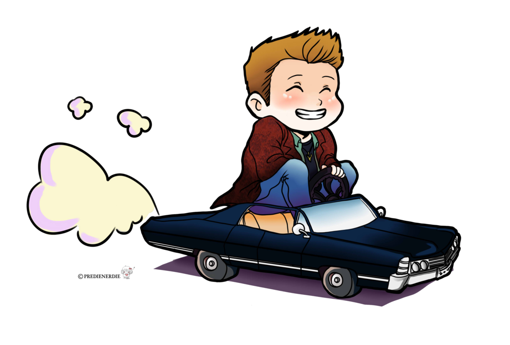 jpg transparent library Dean winchester chibi riding. Drawing something supernatural