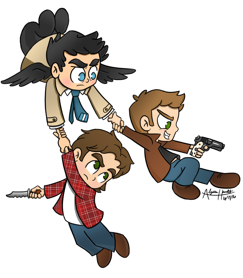 clip black and white Supernatural for neverjay by. Drawing chibis cartoon