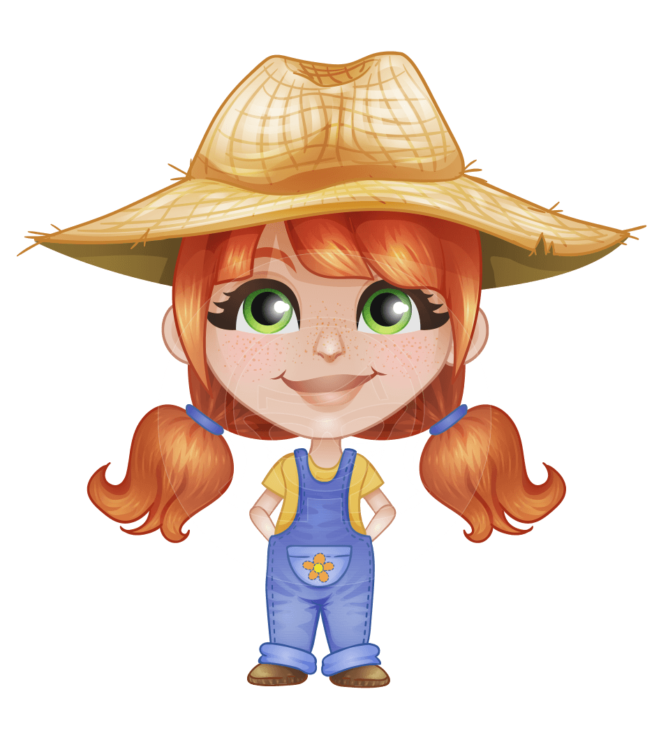 svg freeuse stock Vector Farm Girl With Freckles Cartoon Character