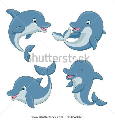 image Vector dolphin cute. Cartoon dolphins set illustration