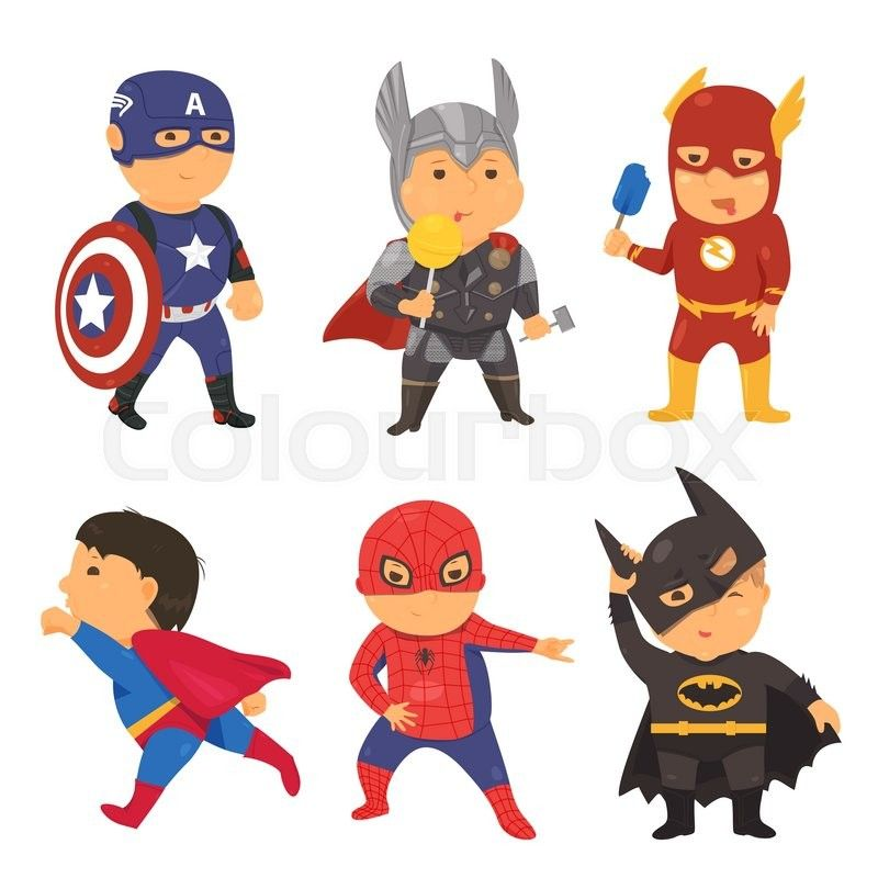 png royalty free stock Cartoon superhero kids illustration. Vector costume super hero