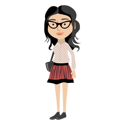 graphic free Hipster girl cartoon character