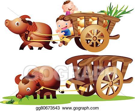 picture transparent stock Vector illustration farmer cart. Carts clipart buffalo.