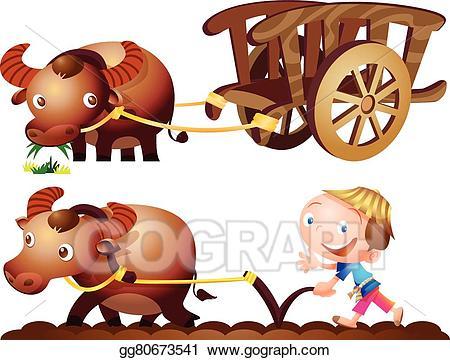 graphic royalty free download Carts clipart buffalo. Vector stock farmer cart.