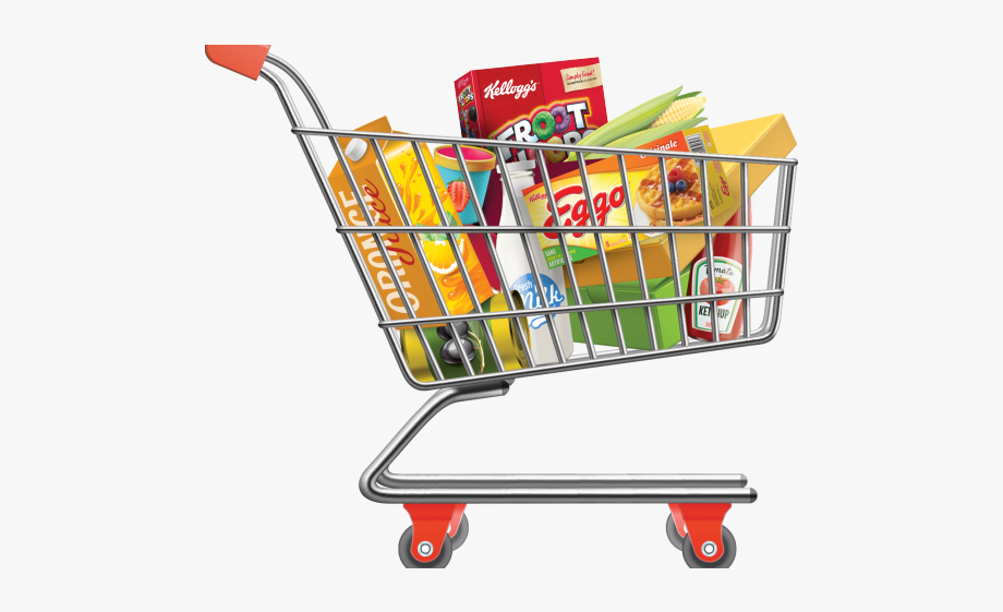 clipart freeuse library Supermarket clipart trolley. Cart grocery bag shopping