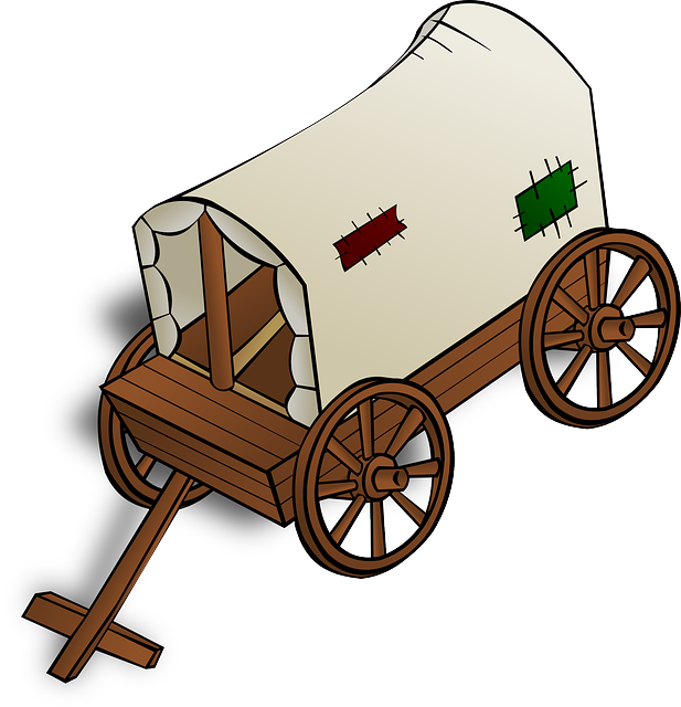 banner library stock Old cart clipart