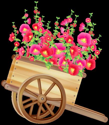 vector free stock Carretilla con las flores. Wheelbarrow clipart rustic wooden
