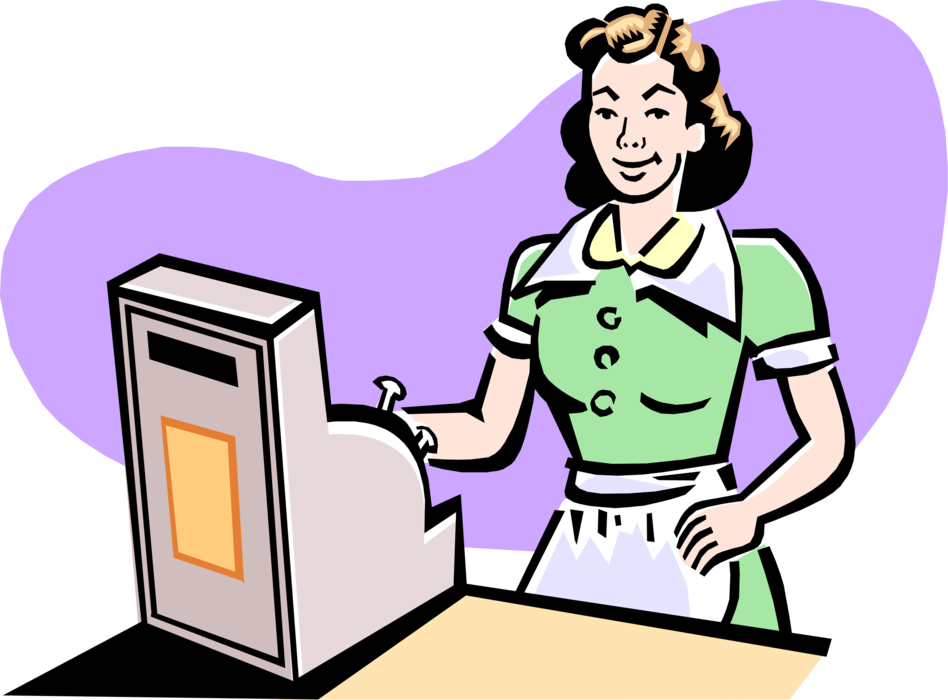 image transparent download At diner cash register. Cashier clipart