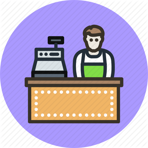 black and white Cashier clipart seller. Unigrid flat finance vol.