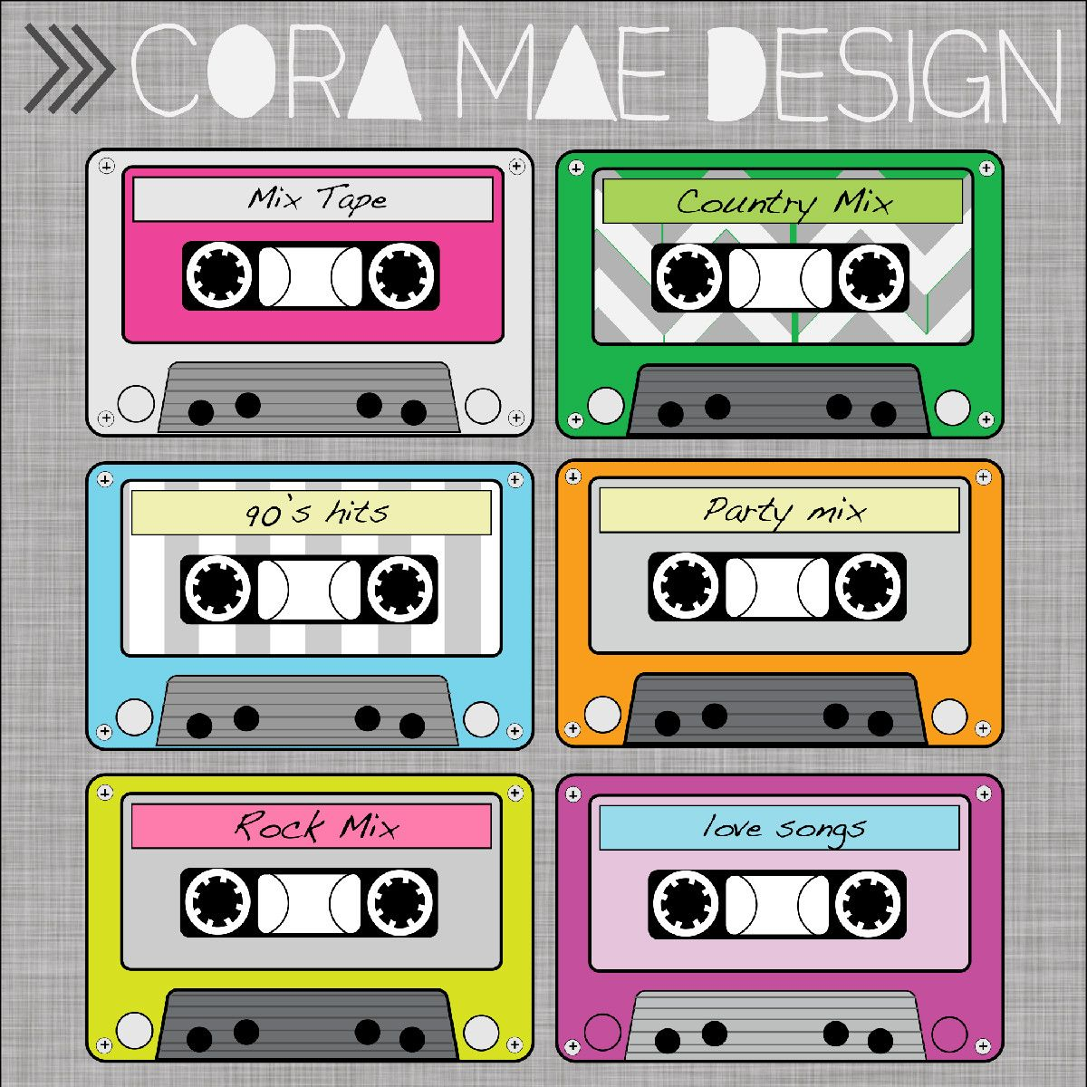banner download Free printable tape clip. Cassette clipart 80s party.