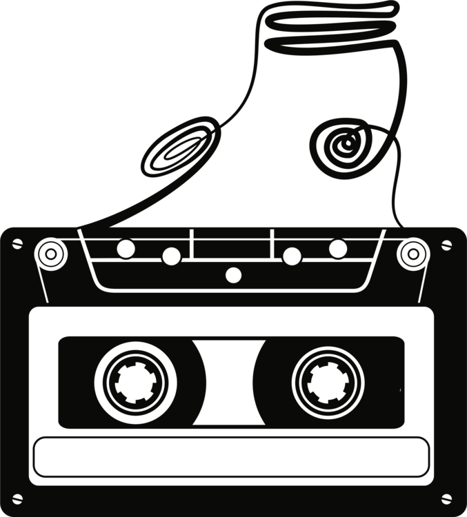 jpg library Compact recorder deck drawing. Cassette clipart magnetic tape.