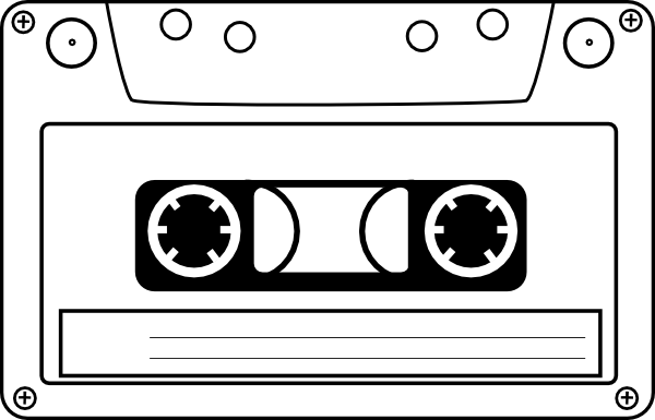image black and white Cassette clipart magnetic tape. Audio clip art at.