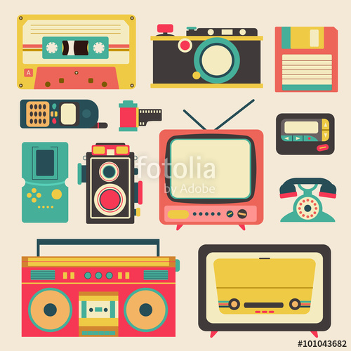 image library download Old retro media communication. Cassette clipart tv radio.