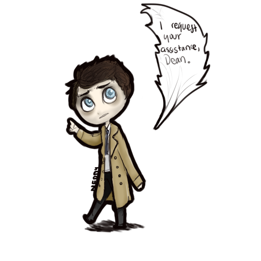 clip library Tiny by inotnedloh on. Drawing something castiel