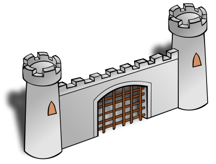 clip black and white Castle Gate Clipart