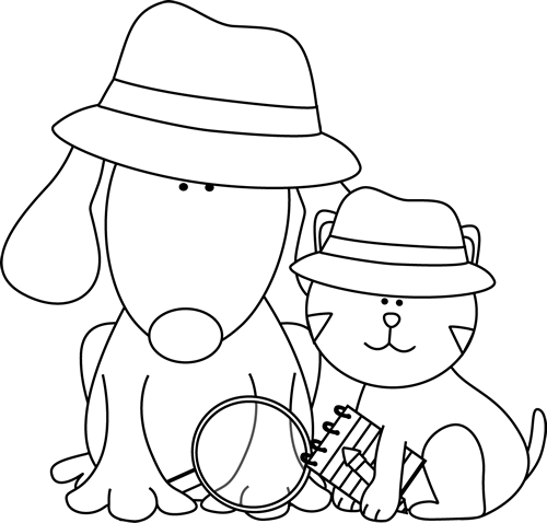 vector transparent Black and White Detective Dog and Cat Clip Art