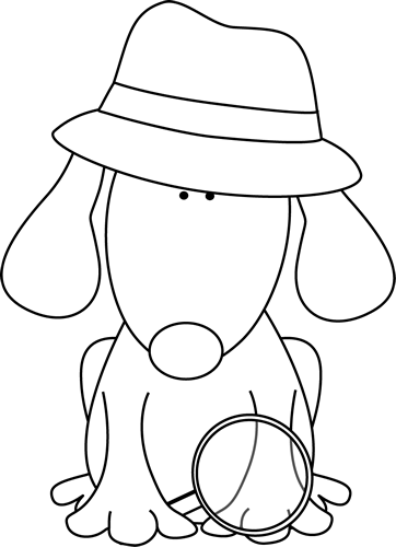 vector black and white library Black and white dog. Cat clipart detective.