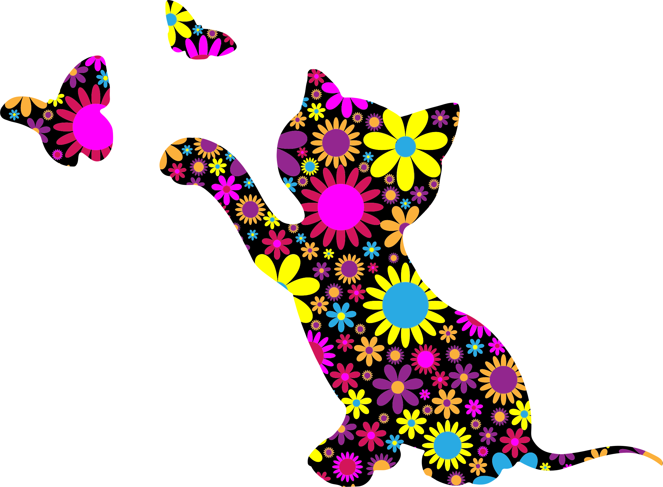 vector freeuse stock Kitten playing with butterflies. Cat clipart floral.