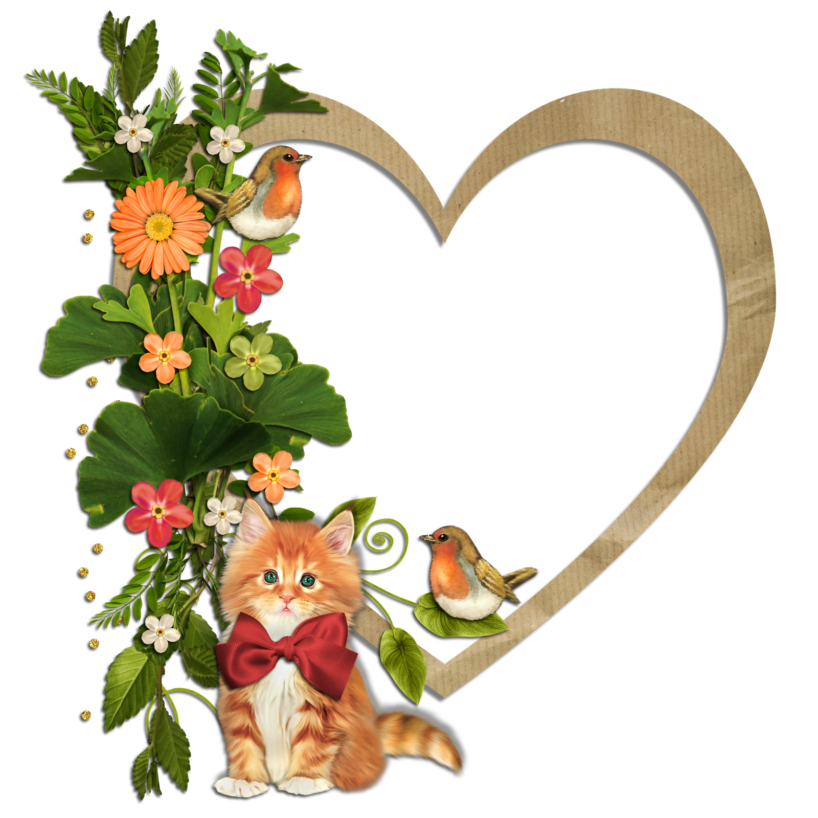 picture free library Cat clipart floral. Kitty birds and flowers.