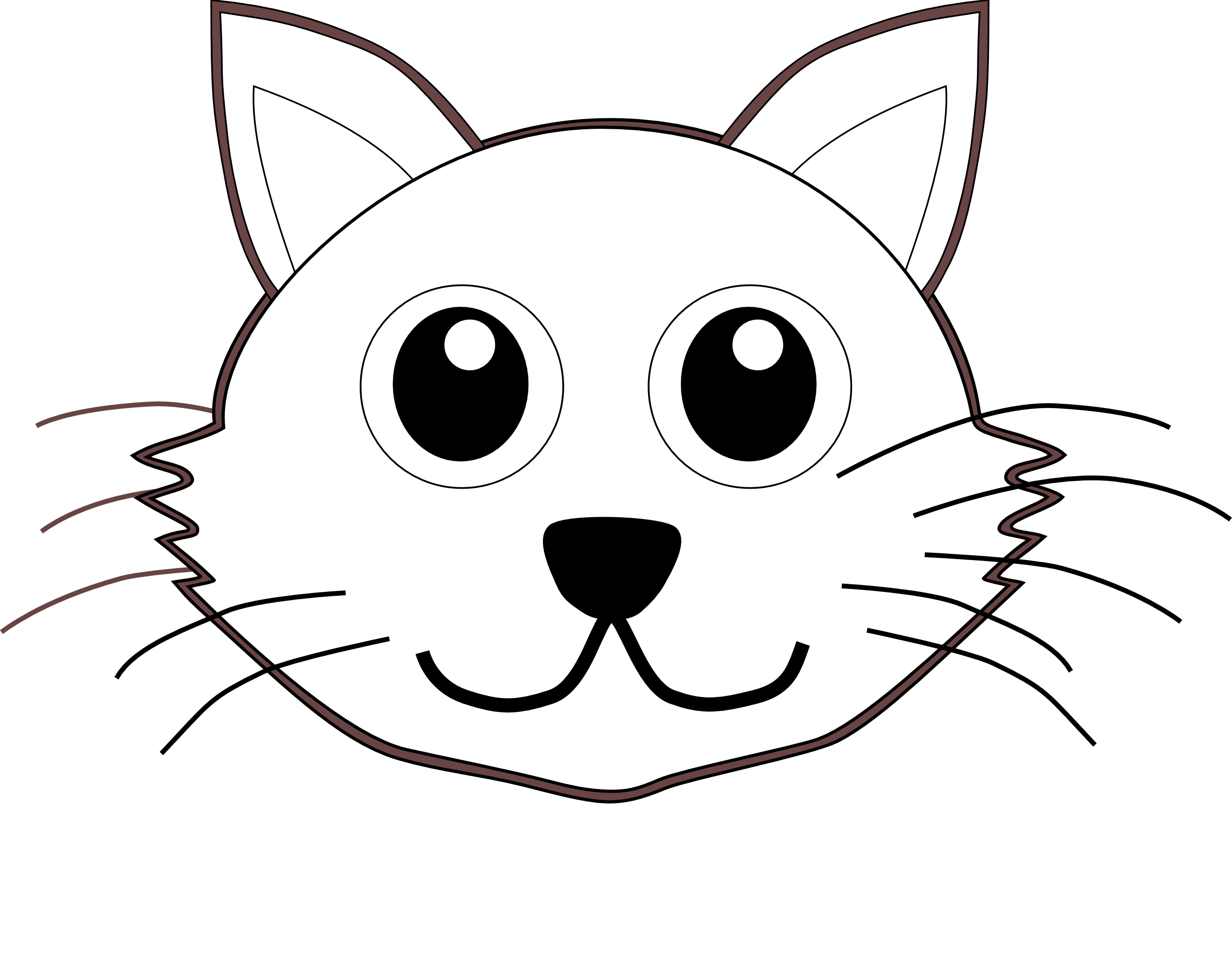 vector royalty free library Cat face clipart black and white. Free clip art bay
