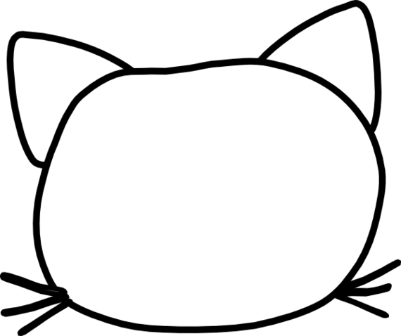banner free Silhouette of at getdrawings. Cat face clipart black and white