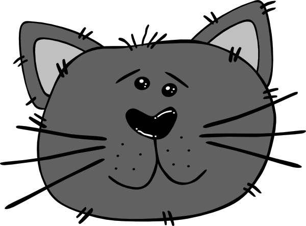 picture royalty free library Cat face clipart black and white. Cartoon clip art at