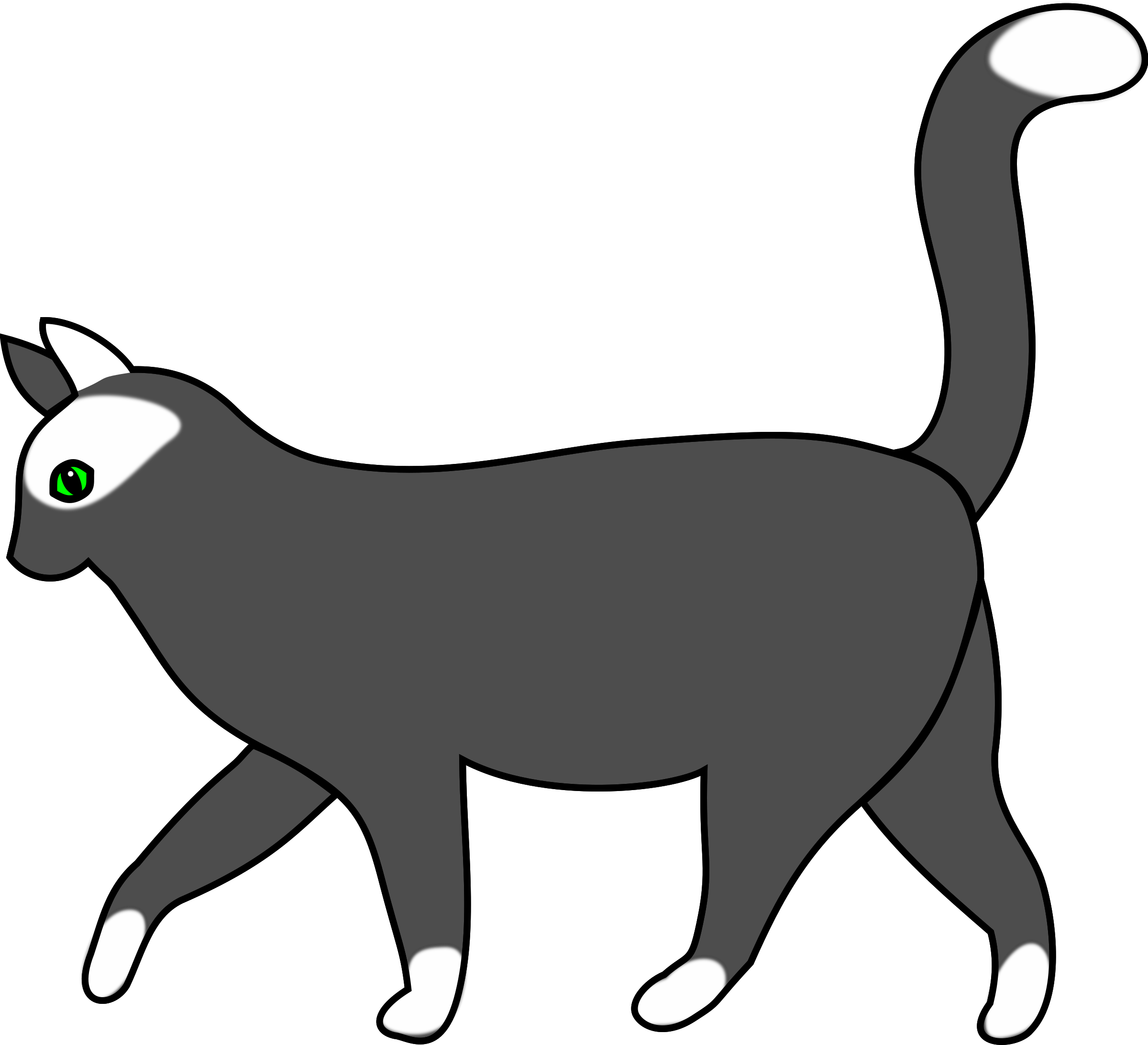 free White big image png. Cat walking clipart