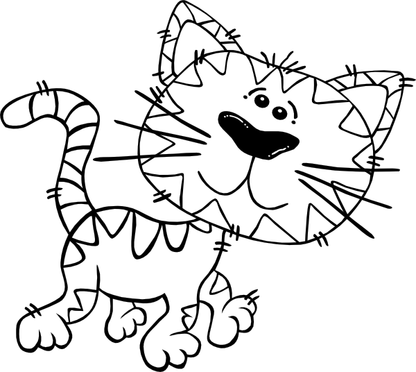 black and white download Cartoon outline clip art. Cat walking clipart