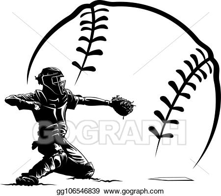 picture free download Vector illustration baseball silhouette. Catcher clipart
