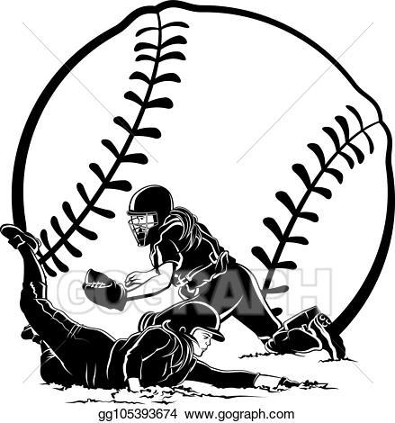 picture Vector stock runner sliding. Catcher clipart female softball.
