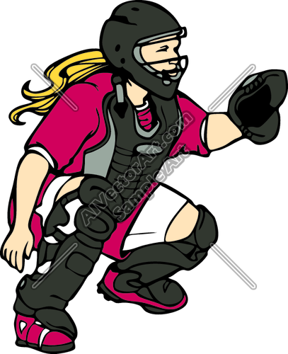 image transparent stock Catcher clipart female softball. I love leave it.