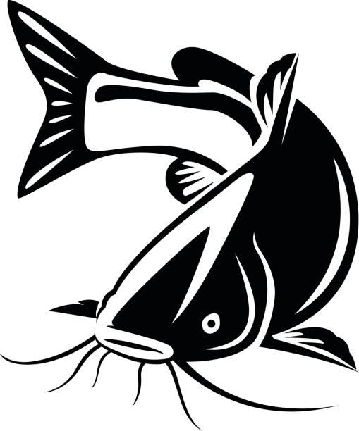 banner black and white stock Station . Catfish clipart