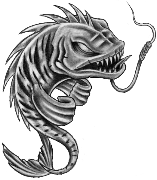 graphic library stock Fish skeleton pisces tattoos. Piranha drawing tribal.