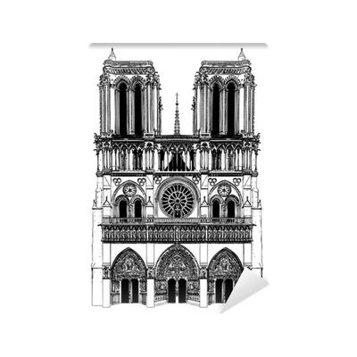 picture free download Drawing of Notre Dame Wall Mural