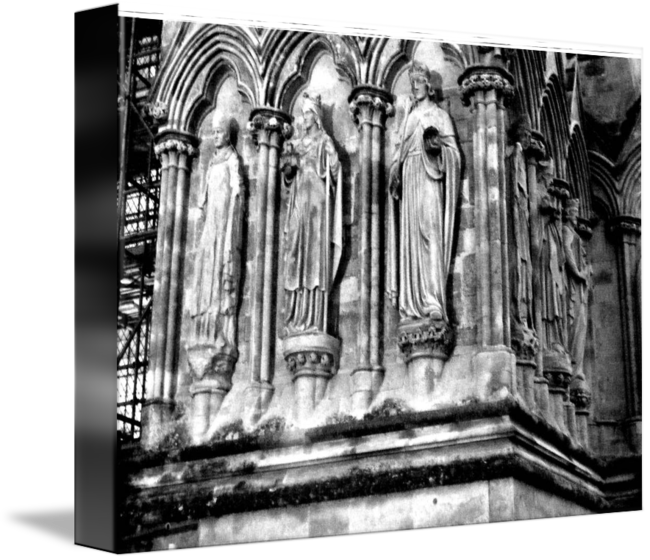 image black and white Saints on the exterior of Salisbury Cathedral by David Flurkey