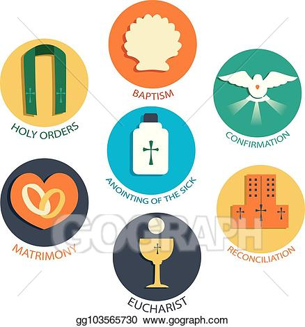 clipart download Vector seven elements illustration. Catholic clipart sacraments.