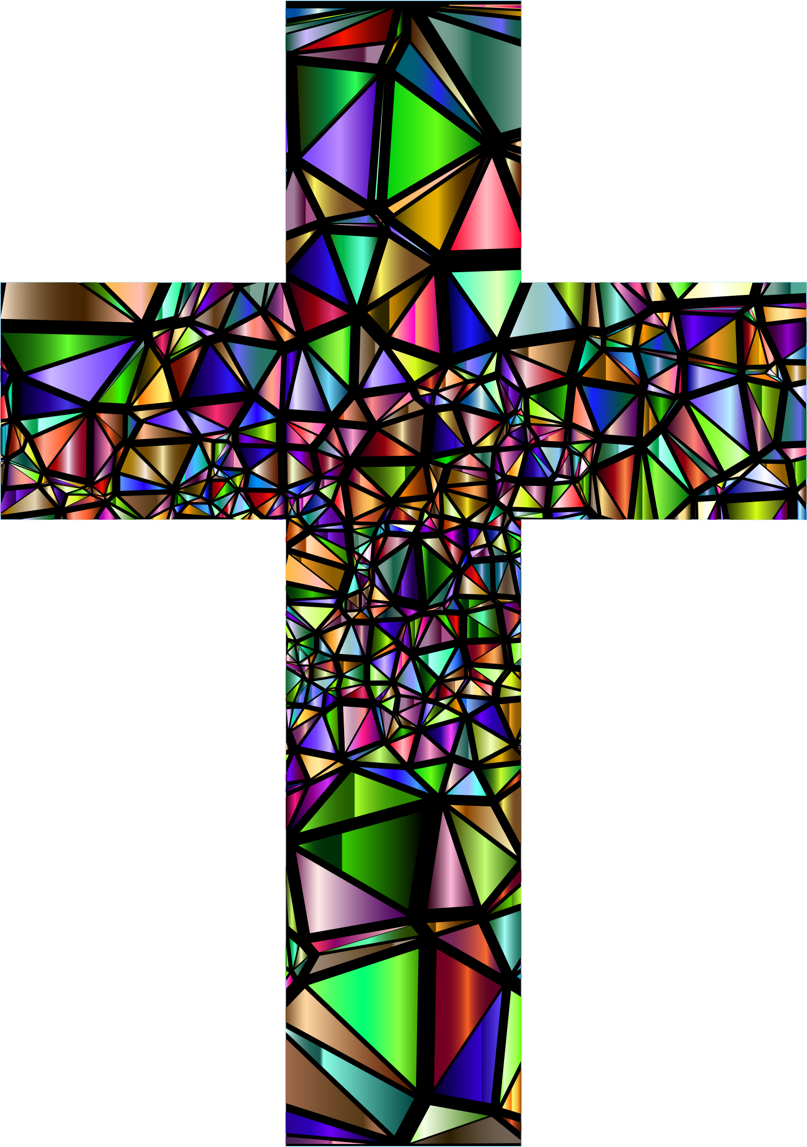 black and white Catholic clipart stained glass. Low poly cross big.