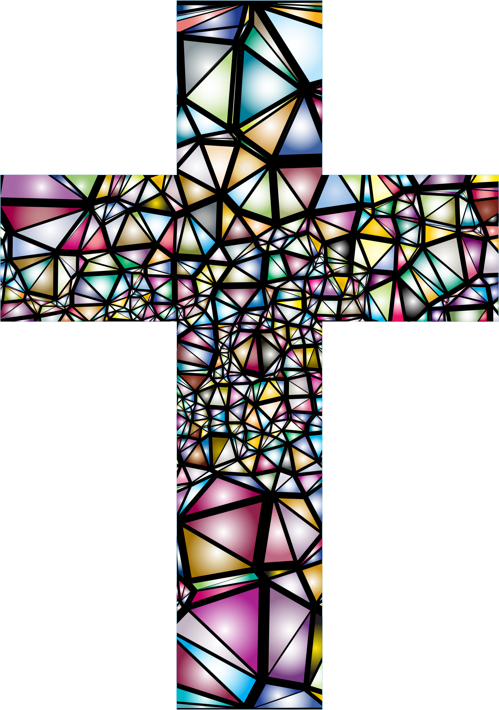 image black and white Low poly cross big. Catholic clipart stained glass.