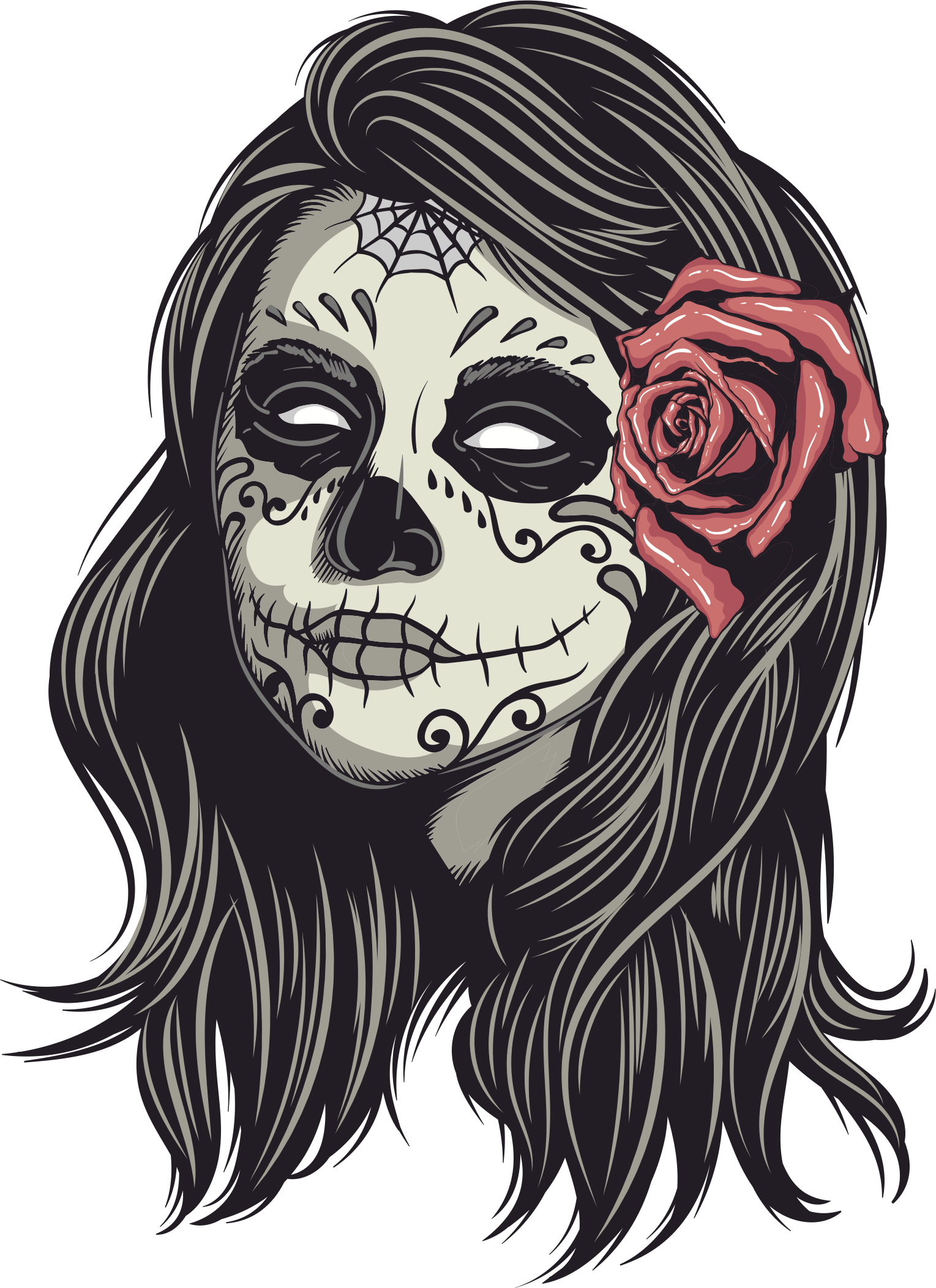 clip art freeuse stock Catrina drawing. La calavera human skull